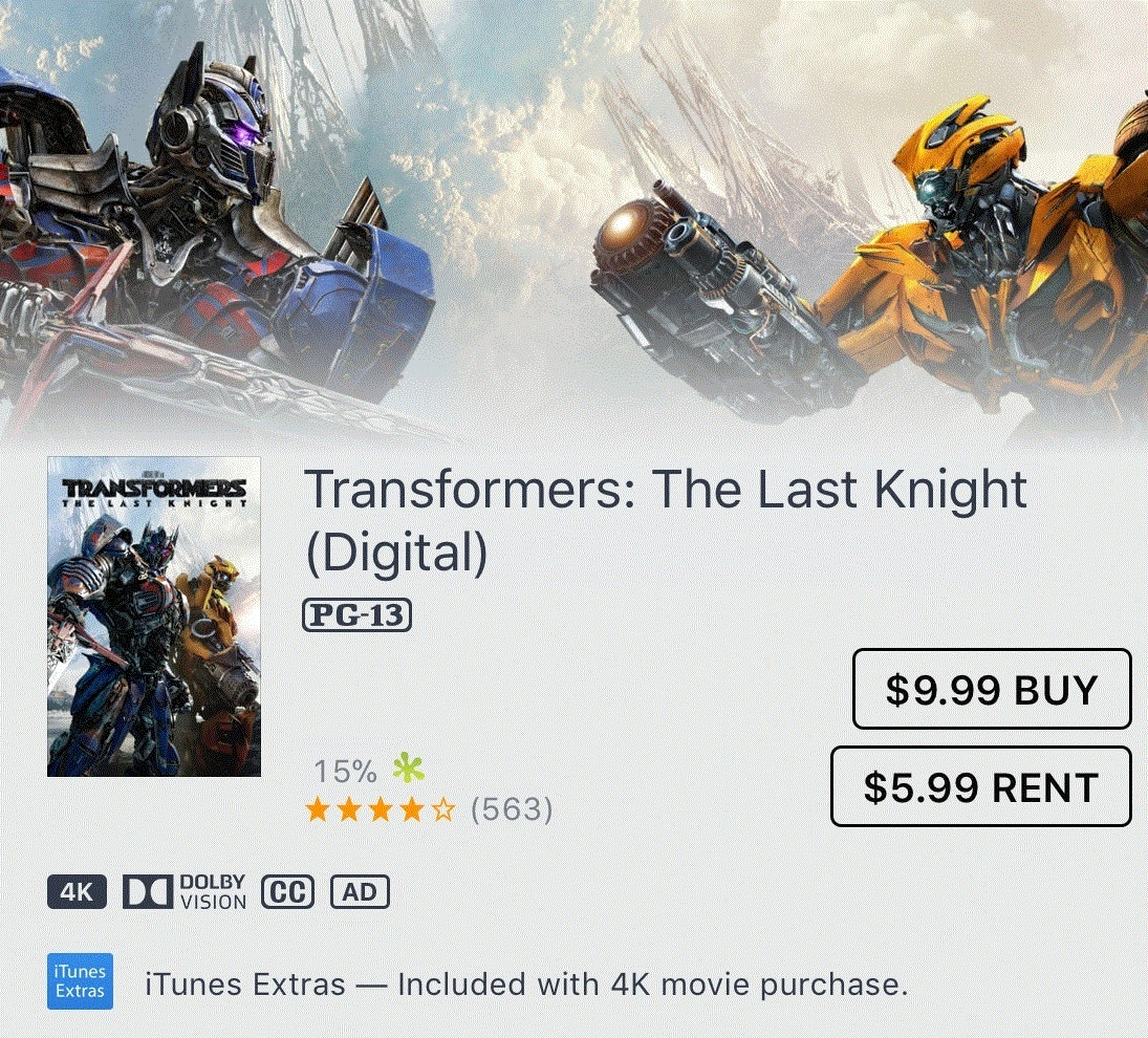 Transformers: The Last Knight (Digital) 4K Dolby Vision $9.99