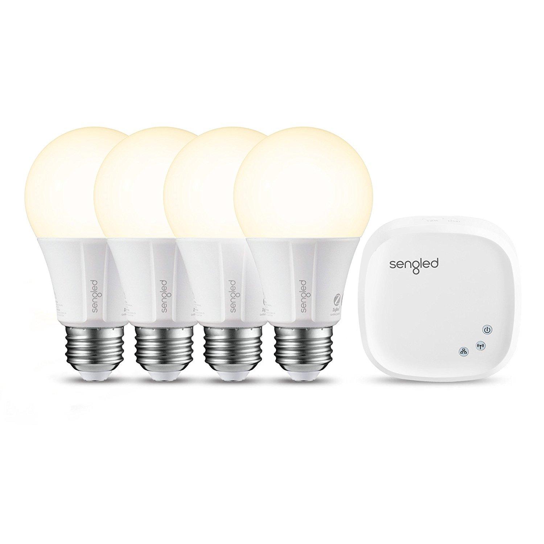 4 x (Smart LED Bulbs A19 bulbs ) + hub - 60W Equivalent Soft White (2700K) Compatible with Amazon Alexa, Google Assistant - $48.49 AC
