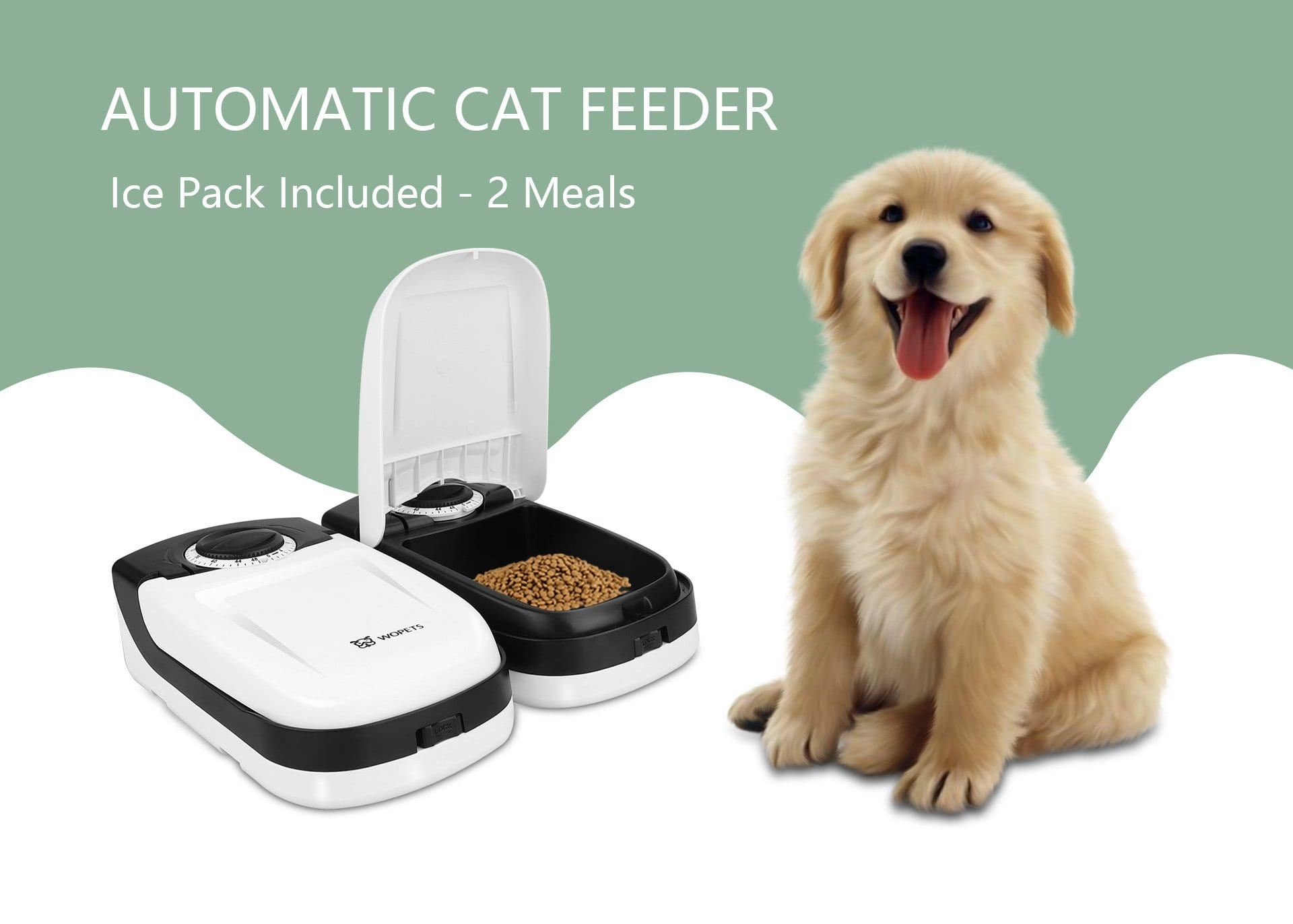 """WOpet Automatic Cat Feeder, Pet Feeder for Dogs and Cats with Ice Pack Included - 2 Meals with code """"WOPET30"""" $20.99"""
