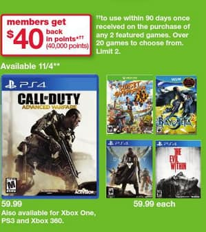 Buy 2  Video Games get $40 back in Reward Points at Kmart