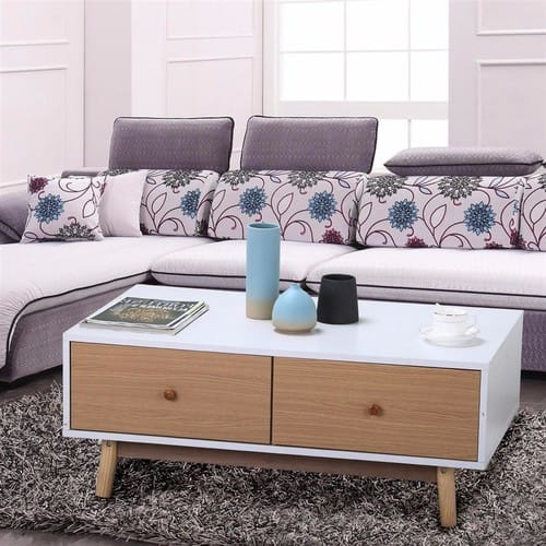 Modern 2 White Drawers Coffee Table Solid Wood Legs Center Tables Living  Room Furniture $47.98