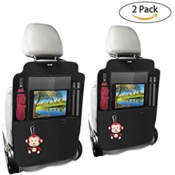 Kick Mats Car Back Seat Protector with Storage Organizer and Touchable iPad Holder Waterproof Leather Effective Prevention of Mud Dirty Scratches $14.87