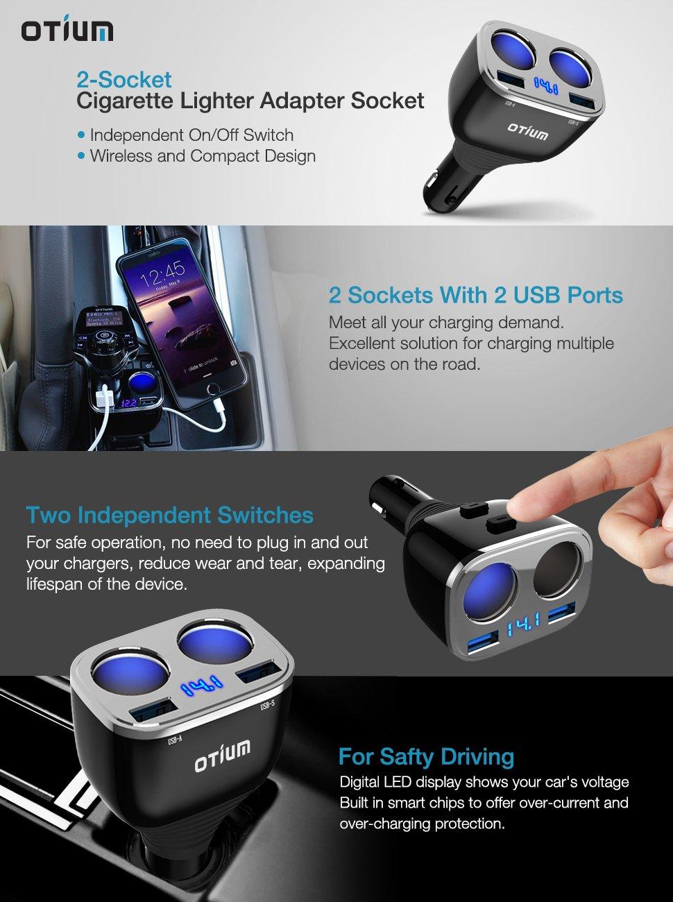 Otium 2-Socket Cigarette Lighter Adapter Socket Dual Car Charger $8.90 AC