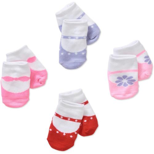 Newborn (upto 12m) Baby Girl Flowers & Dots Socks Set - 4 Pack - $2.80