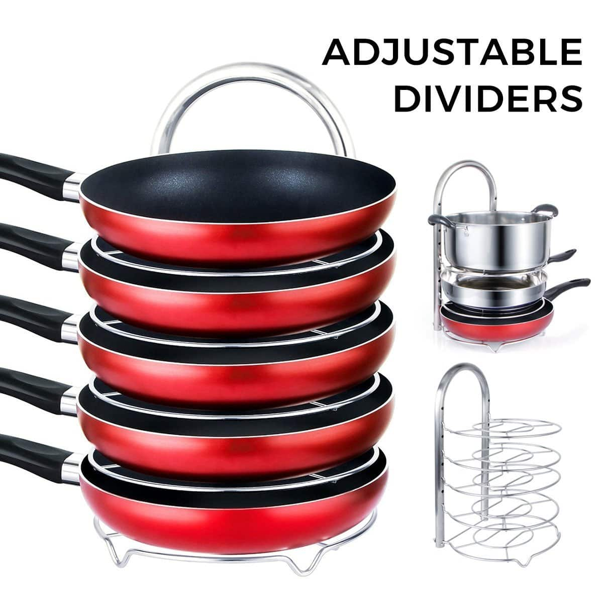 5-Tier Pan & Pot Organizer Rack, Cookware Holder - $17.47 AC - Free Prime Shipping $17.47