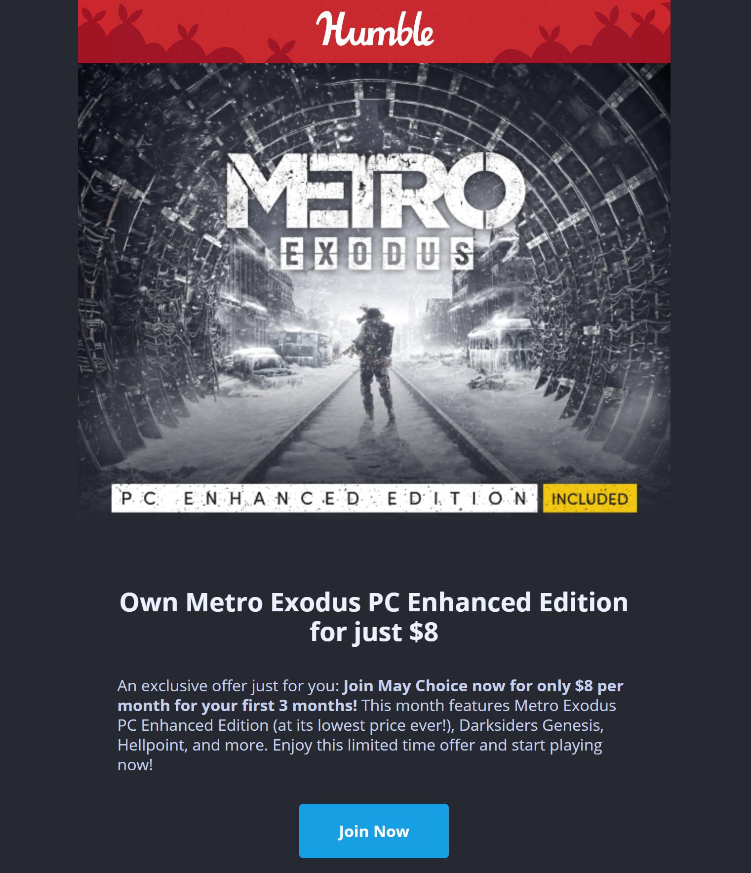 Metro Exodus [PC Enhanced Edition] (Steam PC Digital Download) $8 YMMV