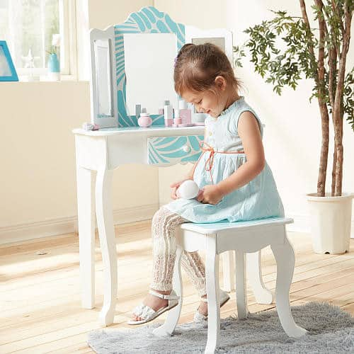 Teamson Kids Fashion Prints Tropical Wooden Vanity Table & Stool Set $85.00 + fs