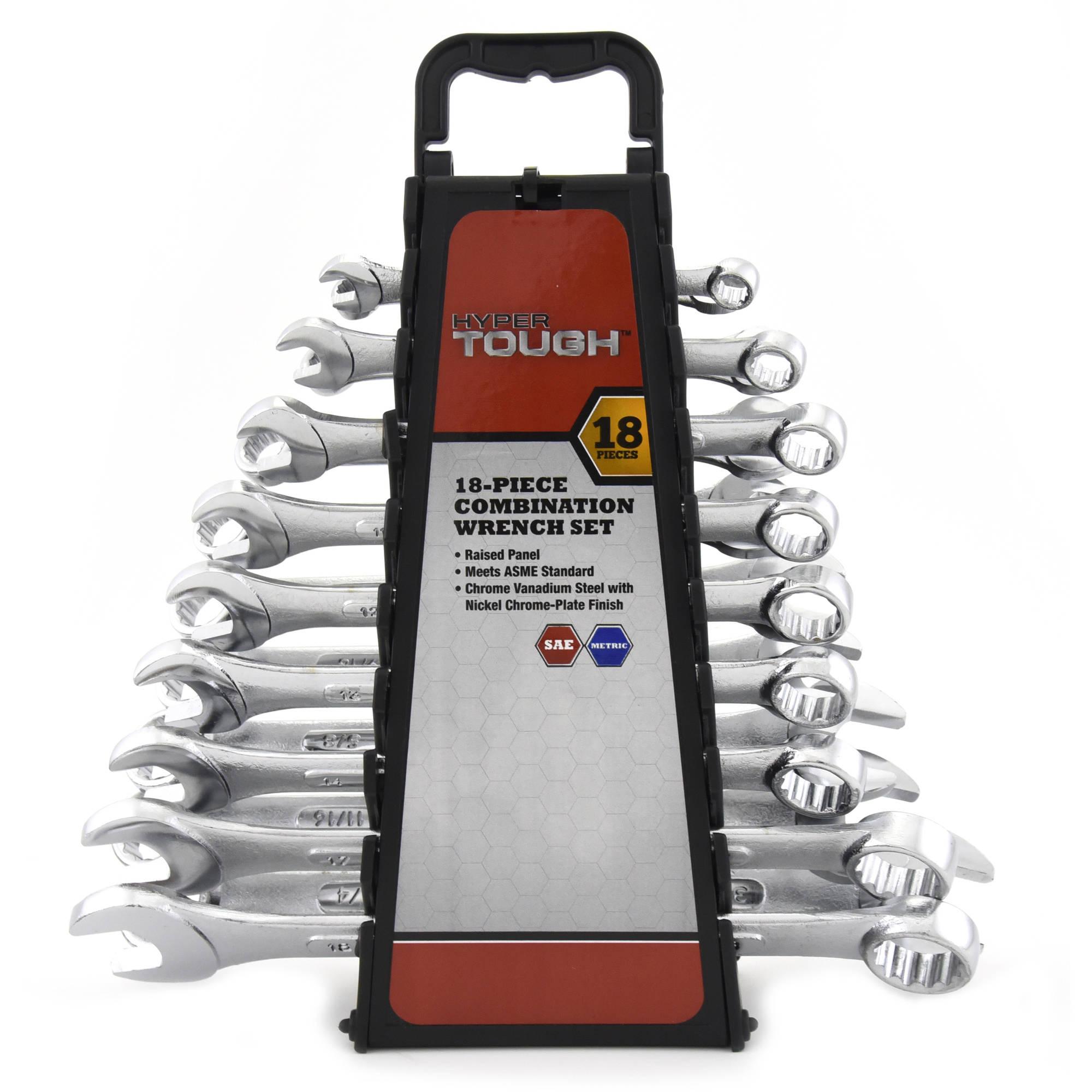 Hyper Tough 18-Piece Combination Wrench Set $10.00