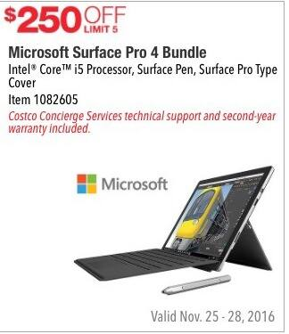 Costco Wholesale Black Friday: Microsoft Surface Pro 4 (Intel Core i5) Bundle - $250 Off