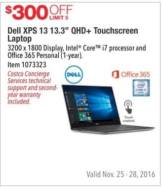 """Costco Wholesale Black Friday: Dell XPS 13 13.3"""" QHD+ Touchscreen Laptop: Intel Core i7, 3200 x 1800 Display, Office 365 Personal (1-year) - $300 Off"""