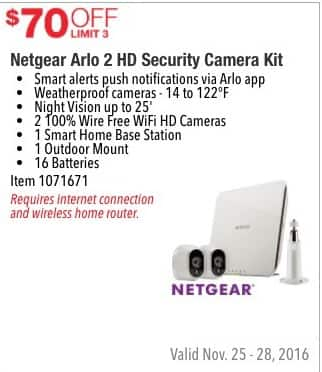 Costco Wholesale Black Friday: Netgear Arlo 2 HD Security Camera Kit - $70 Off