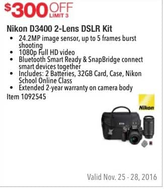 Costco Wholesale Black Friday: Nikon D3400 2-Lens DSLR Kit - $300 Off