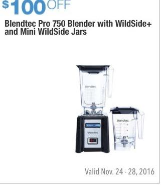 Costco Wholesale Black Friday: Blendtec Pro 750 Blender with WildSide+ and Mini WildSide Jars - $100 Off