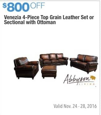 Costco Wholesale Black Friday Venezia 4 Piece Top Grain Leather Set Or Sectional With Ottoman