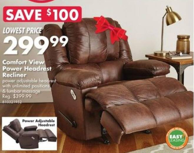 Big Lots Black Friday: Comfort View Power Headrest Recliner for $299.99
