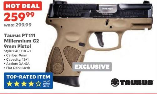 Academy Sports + Outdoors Black Friday: Taurus PT111 Millennium G2 9mm Pistol for $259.99