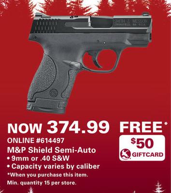 Gander Mountain Black Friday: Smith & Wesson M&P Shield Semi-Auto 9mm or .40 S&W Handgun + $50 Gander Mountain Gift Card for $374.99