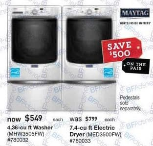Lowe's Black Friday: Maytag 4.36 cu ft Washer (MHW3505FW) or 7.4 cu ft Electric Dryer (MED3500FW) for $549.00
