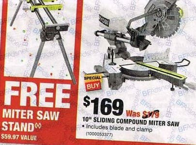 "Home Depot Black Friday: Ryobi 10"" Sliding Compound Miter Saw + Free Miter Saw Stand for $169.00"