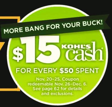Kohl's Black Friday: Kohl's Cash, 11/20/17 - 11/25/17. For Every $50 Spent - Earn $15 Kohl's Cash