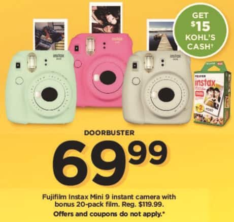 Kohl's Black Friday: Fujifilm Instax Mini 9 Instant Camera with 20-Pack Film + $15 Kohl's Cash for $69.99