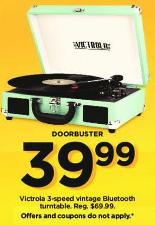 Kohl's Black Friday: Victrola 3-Speed Vintage Bluetooth Turntable for $39.99