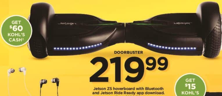 Kohl's Black Friday: Jetson 25 Hoverboard w/Bluetooth and Jetson Ride Ready App Download + $60 Kohl's Cash for $219.99