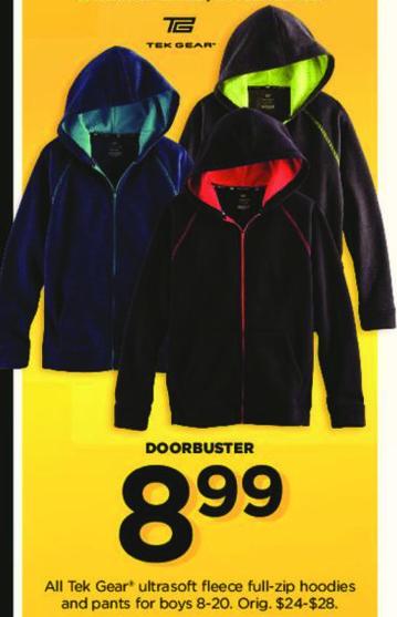 Kohl's Black Friday: All Boy's Tek Gear Ultrasoft Fleece Full Zip Hoodies and Pants for $8.99