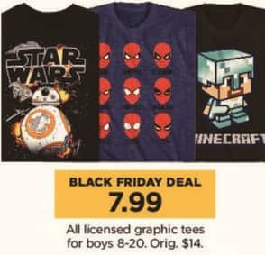 Kohl's Black Friday: All Licensed Graphic Tees for Boys for $7.99