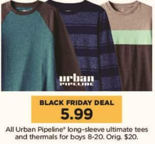 Kohl's Black Friday: All Urban Pipeline Long Sleeve Ultimate Tees and Thermals for Boys for $5.99