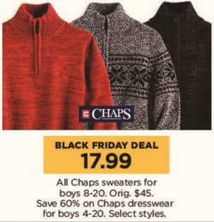 Kohl's Black Friday: All Chaps Sweaters for Boys for $17.99