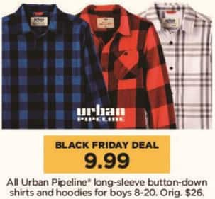 Kohl's Black Friday: All Urban Pipeline Long Sleeve Button Down Shirts and Hoodies for Boys for $9.99