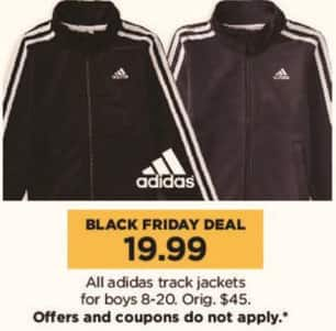 Kohl's Black Friday: All Adidas Track Jackets for Boys for $19.99
