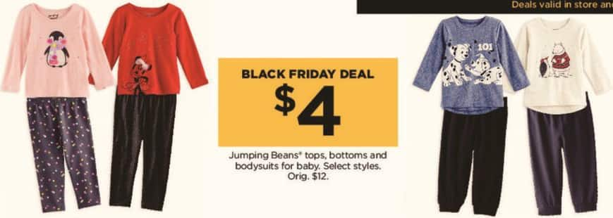 Kohl's Black Friday: Jumping Beans Tops, Bottoms and Bodysuits for Babies, Select Styles for $4.00