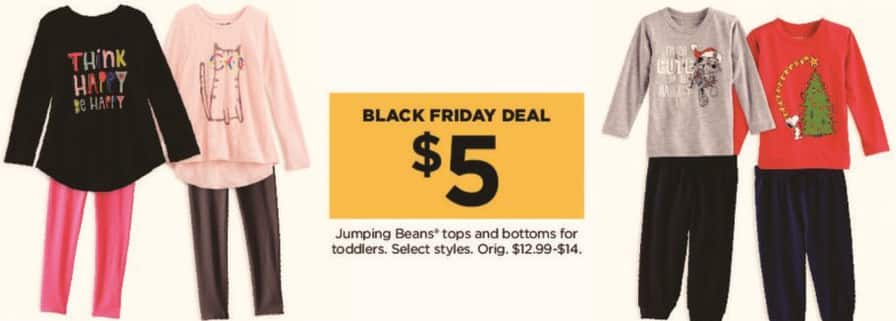 Kohl's Black Friday: Jumping Beans Tops and Bottoms for Toddlers for $5.00