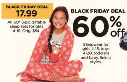 Kohl's Black Friday: All SO 3 Piece Giftable Sleep Sets for Girls for $17.99