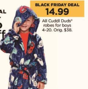 Kohl's Black Friday: All Cuddl Duds Robes for Boys for $14.99