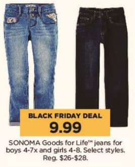 Kohl's Black Friday: Sonoma Goods for Life Jeans for Boys and Girls, Select Styles for $9.99