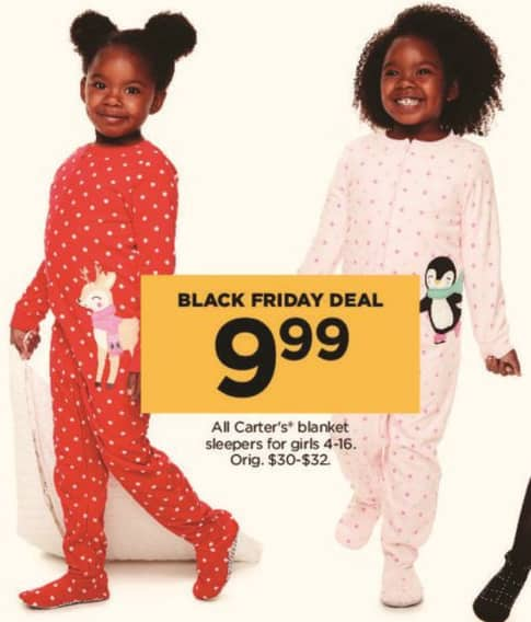 Kohl's Black Friday: All Carter's Blanket Sleepers for Girls for $9.99