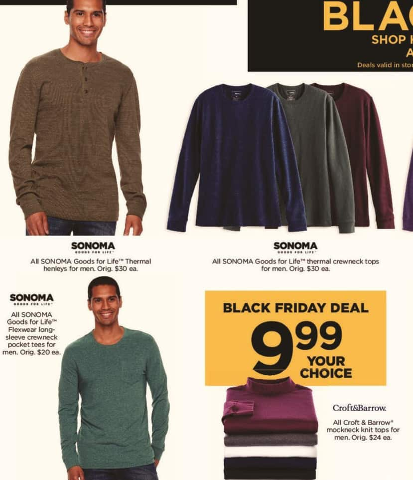 Kohl's Black Friday: All Sonoma Goods for Life Thermal Crewneck Tops for Men for $9.99