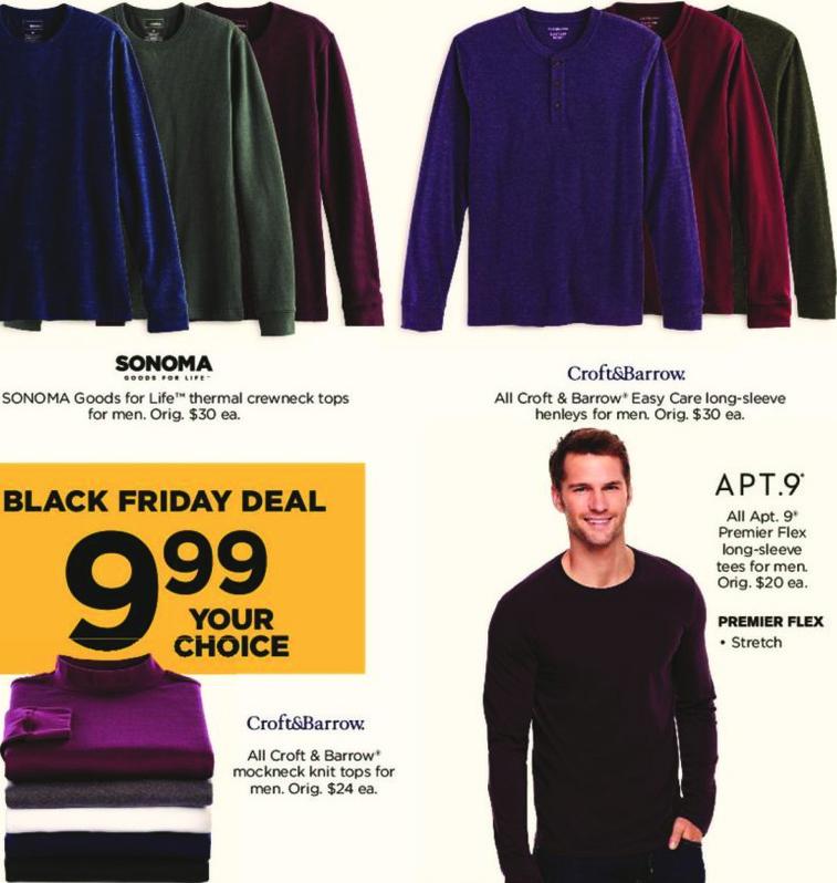 Kohl's Black Friday: All Apt 9 Premier Flex Long Sleeve Tees for Men for $9.99