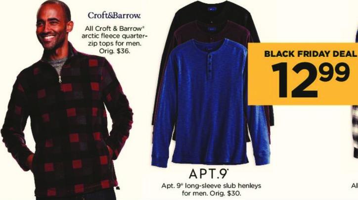 Kohl's Black Friday: All Croft & Barrow Arctic Fleece Quarter Zip Tops for Men for $12.99