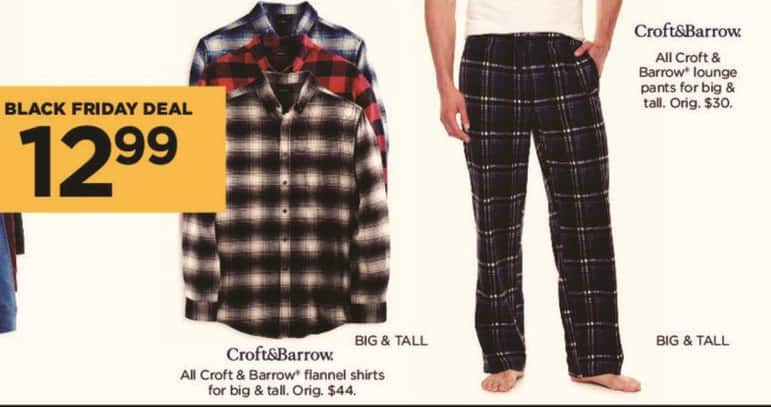 Kohl's Black Friday: All Croft & Barrow Flannel Shirts for Men's Big & Tall for $12.99