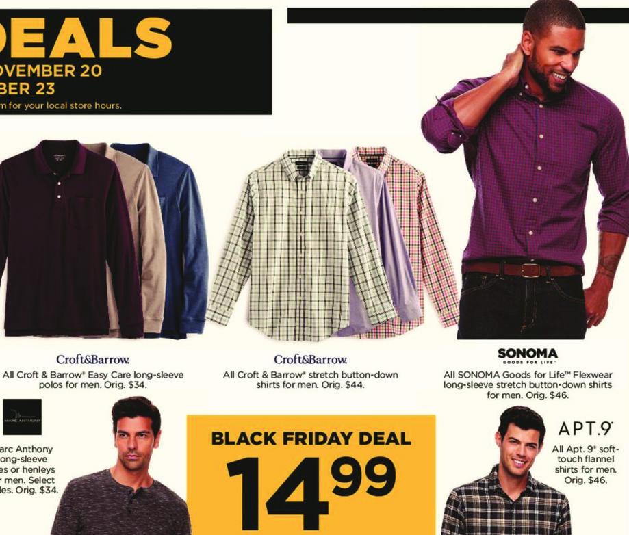 Kohl's Black Friday: All Croft & Barrow Men's Easy Care Long Sleeve Polos for $14.99