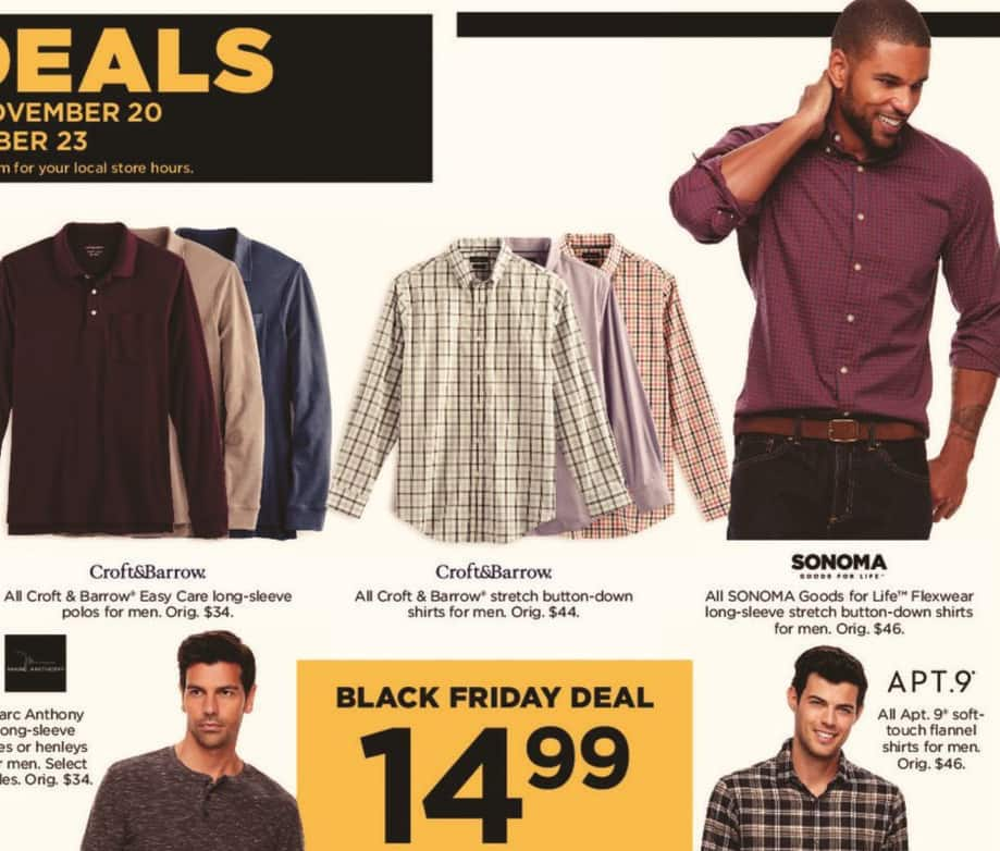 Kohl's Black Friday: All Sonoma Goods for Life Flexwear Men's Long Sleeve Stretch Button-Down Shirts for $14.99