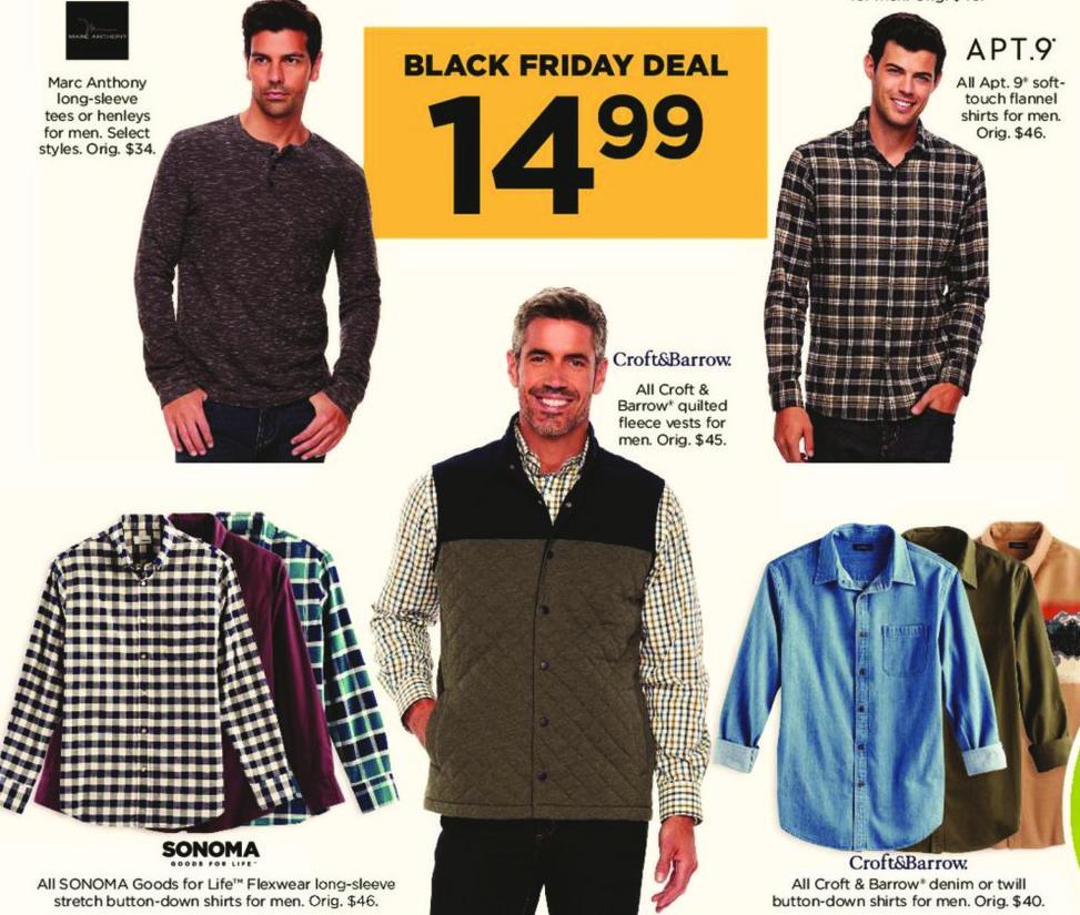 Kohl's Black Friday: Marc Anthony Men's Long Sleeved Tees or Henleys, Select Styles for $14.99