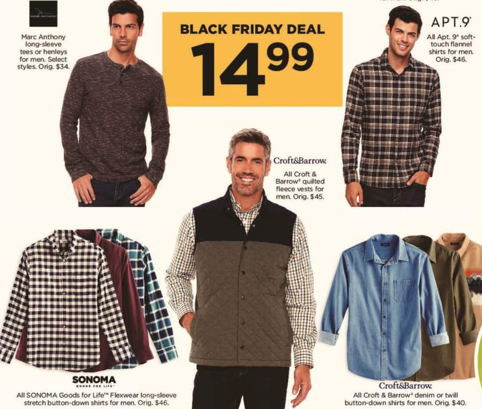 Kohl's Black Friday: All Apt 9 Men's Soft-Touch Flannel Shirts for $14.99