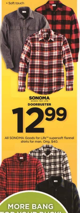 Kohl's Black Friday: All Sonoma Goods For Life Men's Supersoft Flannel Shirts for $12.99