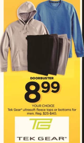 Kohl's Black Friday: Tek Gear Men's Ultrasoft Fleece Tops or Bottoms for $8.99