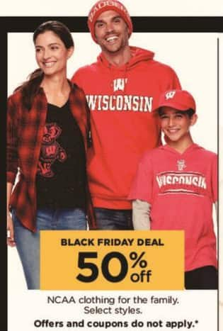 Kohl's Black Friday: NCAA Clothing for the Family, Select Styles - 50% Off